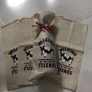 5 PCS BURLAP GIFT BAG FOR 750ml WINE