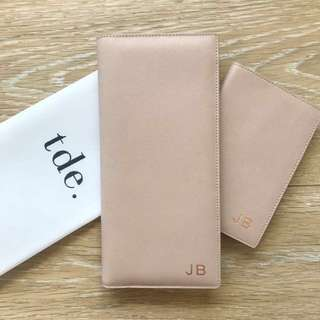 Brand New tde. Taupe Travel Wallet (Monogrammed JB in Rose Gold)