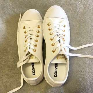White leather low cut Converse