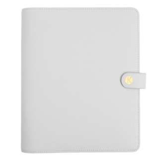 Kikki K Large Textured Saffiano Leather Wellness Planner Grey