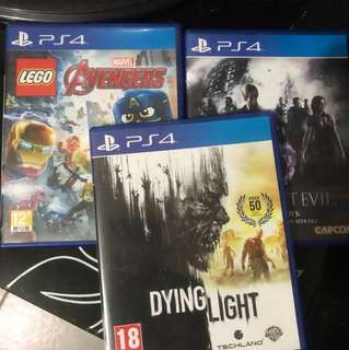 Lego avengers, RE6, Dying Light