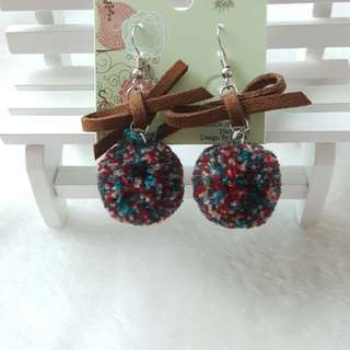 pom pom with bow earrings