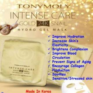 Tony moly intense care gold 24k snail hydro gel mask