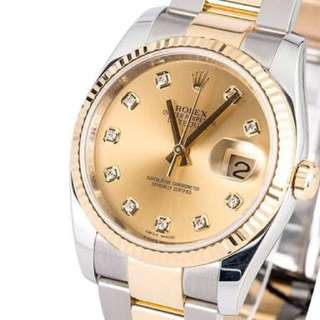 Rolex Datejust Champagne Dimond dial