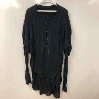 Y's yohji yamamoto black long sweater top size 3