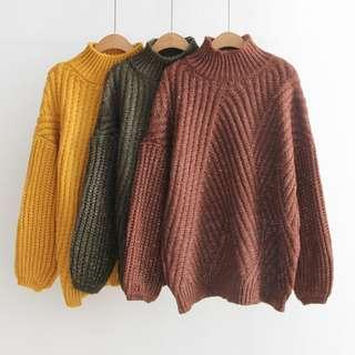 日系冬斜紋針織女毛衣