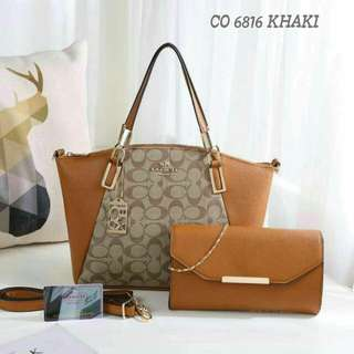 Coach Tote Bag 2 in 1 Brown Color