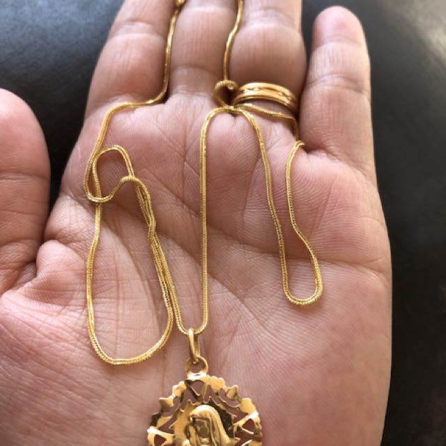 18carat gold necklace & pendant