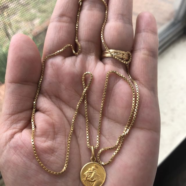 18carat solid gold necklace & pendant