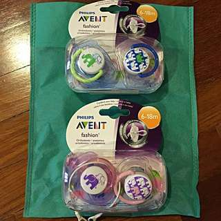 NEW 2 Packs of Philips Avent Fashion Orthodontic Soothers (6-18 Months)