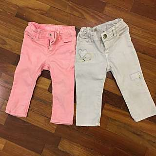 Preloved Authentic Baby Gap Jean for 12-18 Months (Orange) and 18-24 Months (White).