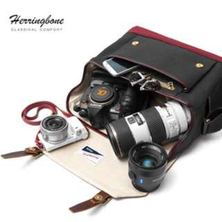 Herringbone Postman Messenger Bag Small - Black