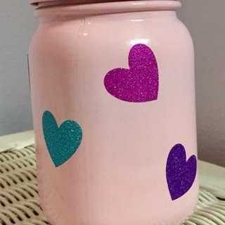 Glitter Hearted Mason Jar Valentine Coin Bank