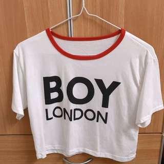 白色露腰T shirt