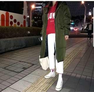 🚚 調降全新現貨 韓國進口 極保暖 軍綠色率性 長版羽絨外套 大衣韓妞必備