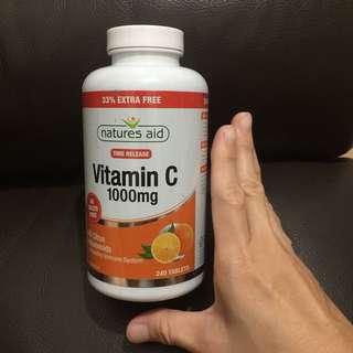 ‼️天氣轉冷,維他命C必選 增強抗力‼️全新 natures aid Vitamin C 1000mg (240 tablets)