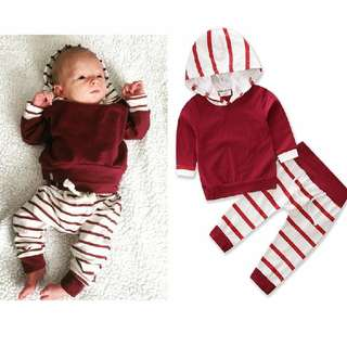 Stripe design baby long sleeve set