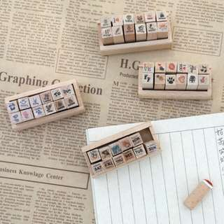 wooden stamps with designs √