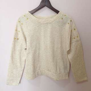 Beige Studed Sweater