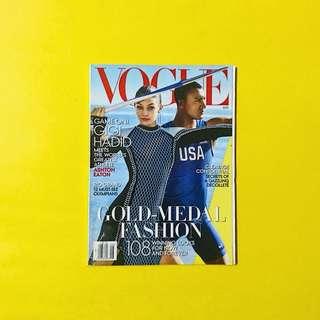 Vogue US August 2016 featuring Gigi Hadid and Ashton Eaton