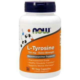 Now Foods, L-Tyrosine, Extra Strength, 750 mg, 90 Veg Capsules