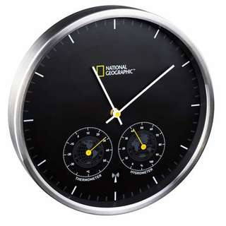 National Geographic Wall Clock with Thermo / Hygrometer
