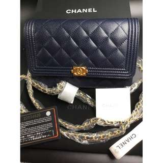 米蘭直送   Chanel WOC Dark Blue Lambskin LeBoy Wallet On Chain BOY 暗藍色 手袋