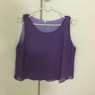 Plain Sleeveless Purple Top