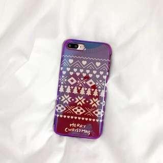 包郵❤️soft case iphone 6/6s 藍光聖誕花紋 軟殼  電話殼