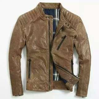 新款男装皮衣修身短款水洗自然褶皱植楺羊皮真皮皮衣男机车服夹克