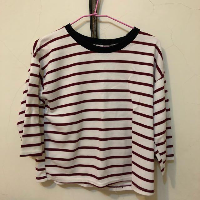 韓製紅白條紋上衣