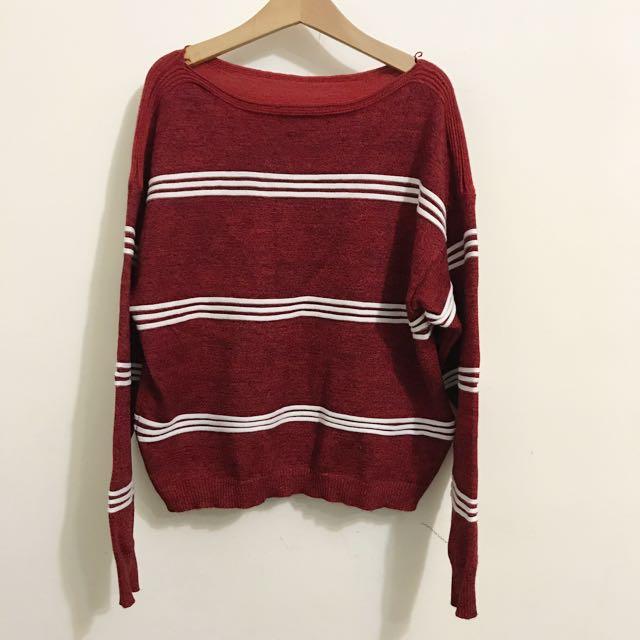 酒紅色針織毛衣