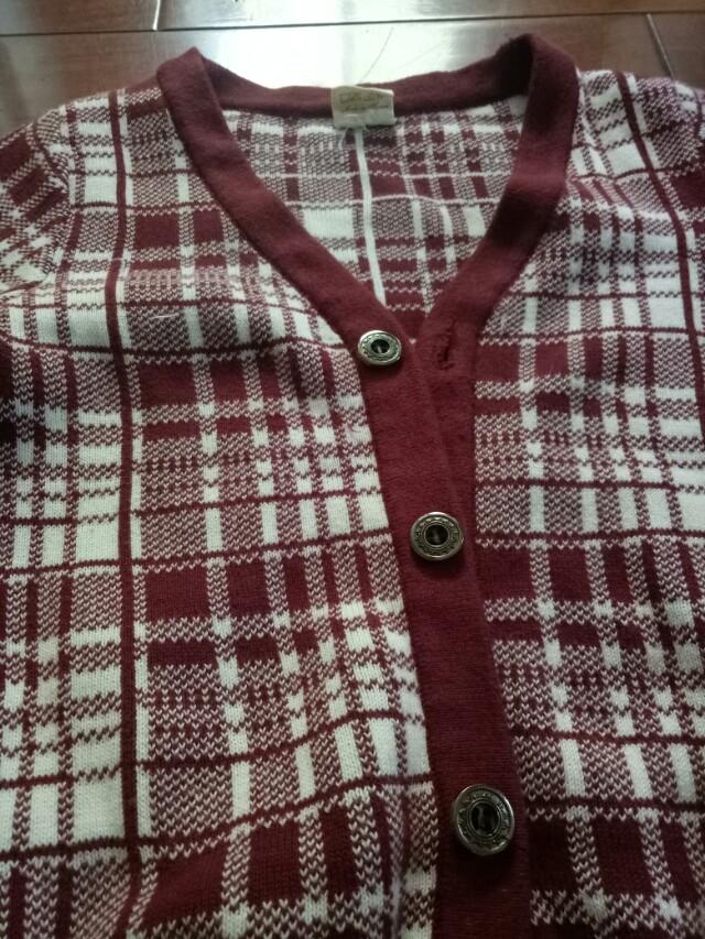 格子針織外套
