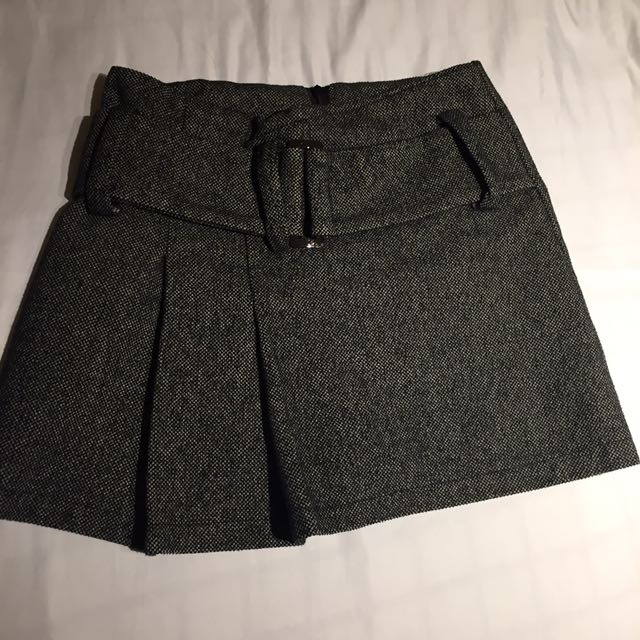 厚款高腰灰色毛呢腰帶短裙