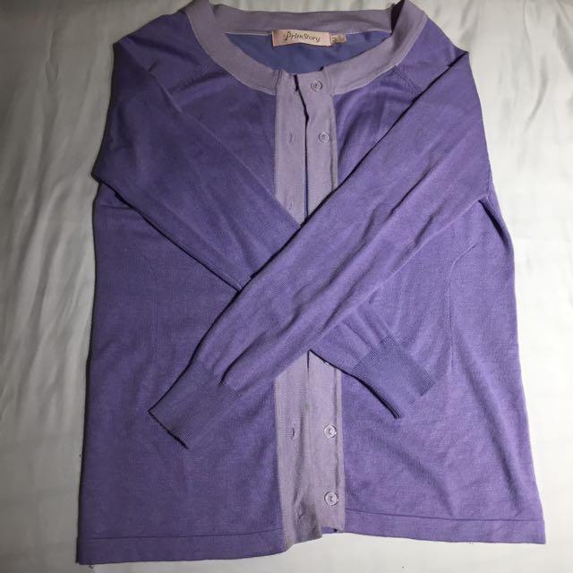 百貨公司貴牌紫色開衫上衣長袖外套