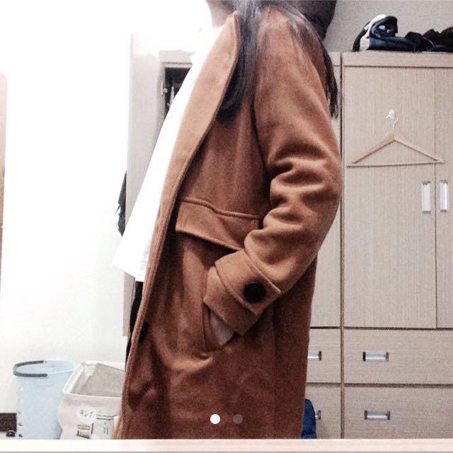 褐色古著大衣