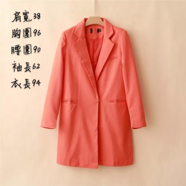 糖果色修身長版西裝外套