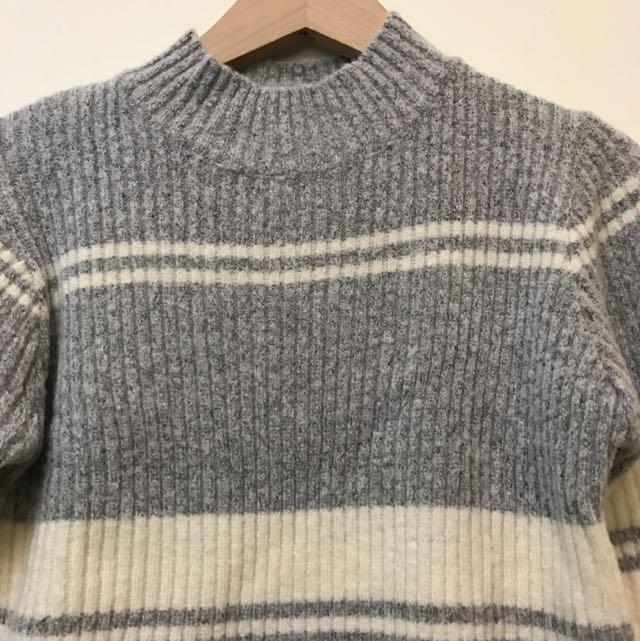 降🕸貓咪曬月亮條紋針織軟毛衣