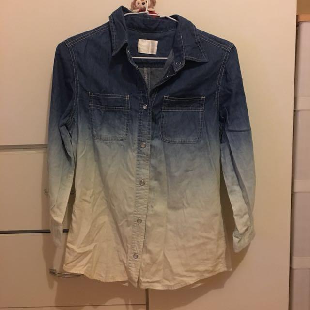日牌七分袖漸層牛仔襯衫