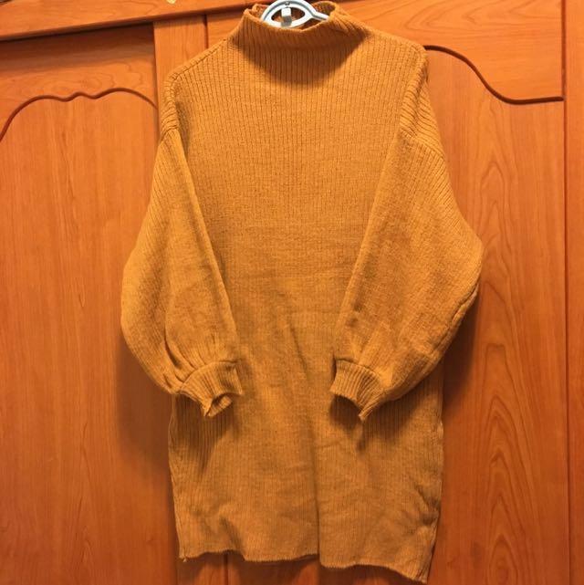 長版半高領厚針織燈籠䄂毛衣