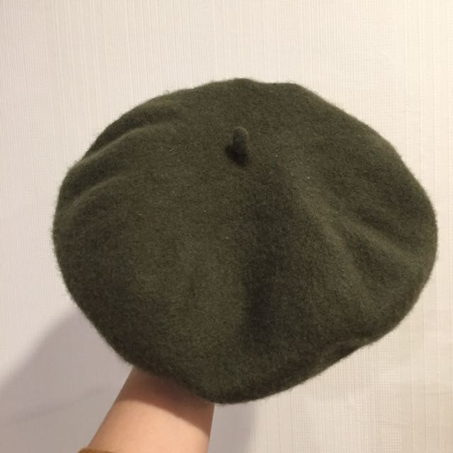 橄綠毛料貝蕾帽