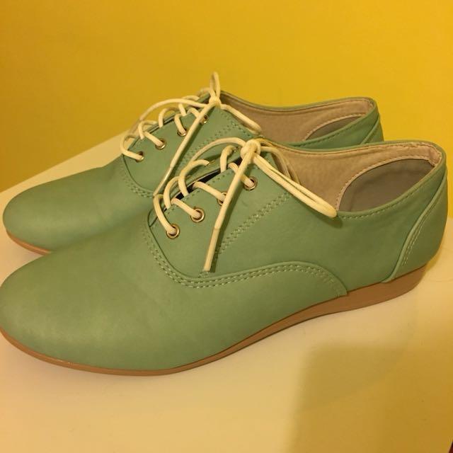 蒂芬妮綠皮革休閒鞋