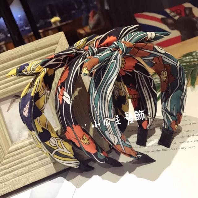 韓版 簡約碎花條紋小兔耳寬髮箍