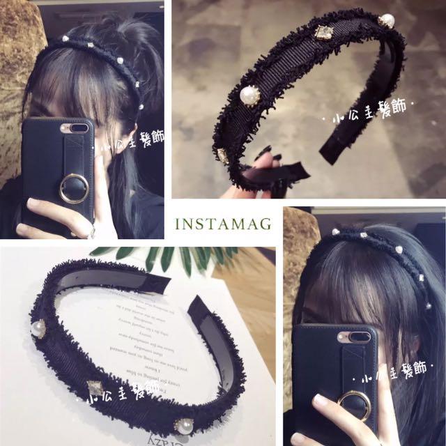 韓版 簡約甜美毛邊珍珠+鑽帶齒髮箍