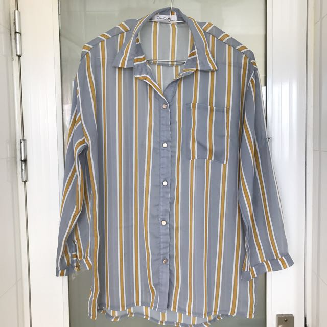 撞色直條紋雪紡襯衫 全新品