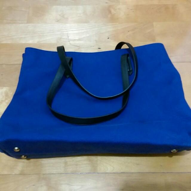 天藍小舖 寶藍色大方包 手提包 肩背包