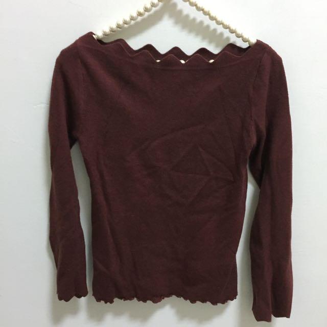 🤡(💁🏼 二手の 上衣💁🏼)鋸齒狀平口長袖毛衣