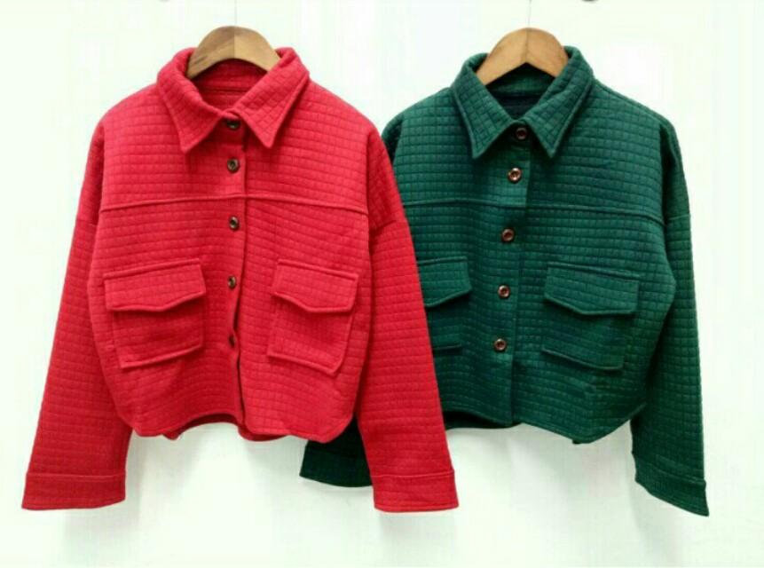 🎄全新-韓版短版襯衫外套 造型 口袋 鈕扣 厚 綠色