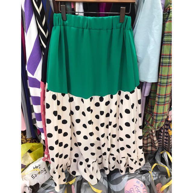 🔴私物🔴拼色波點荷葉裙擺半身裙 點點 綠色 荷葉邊 襯裙