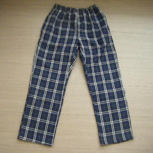 冬季內加絨 中性款藍色格紋休閒褲 M